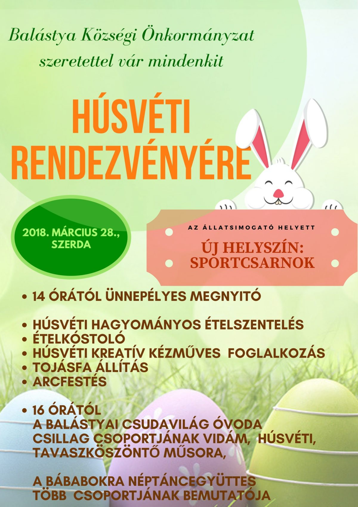 Húsvéti rendezvény új helyszínen!