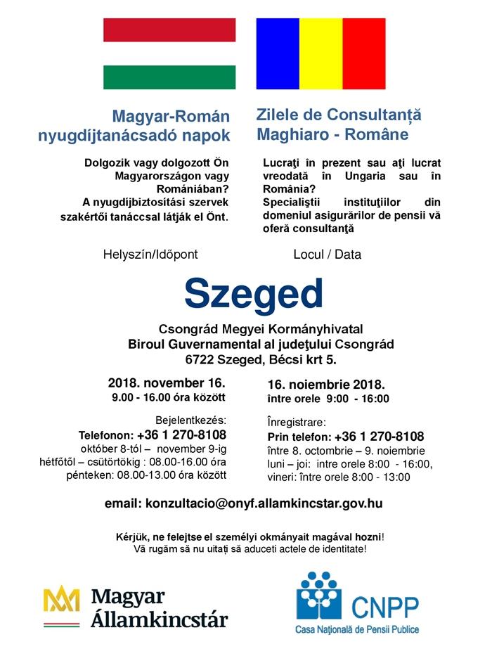 Ismét magyar-román nyugdíjtanácsadó-nap Szegeden